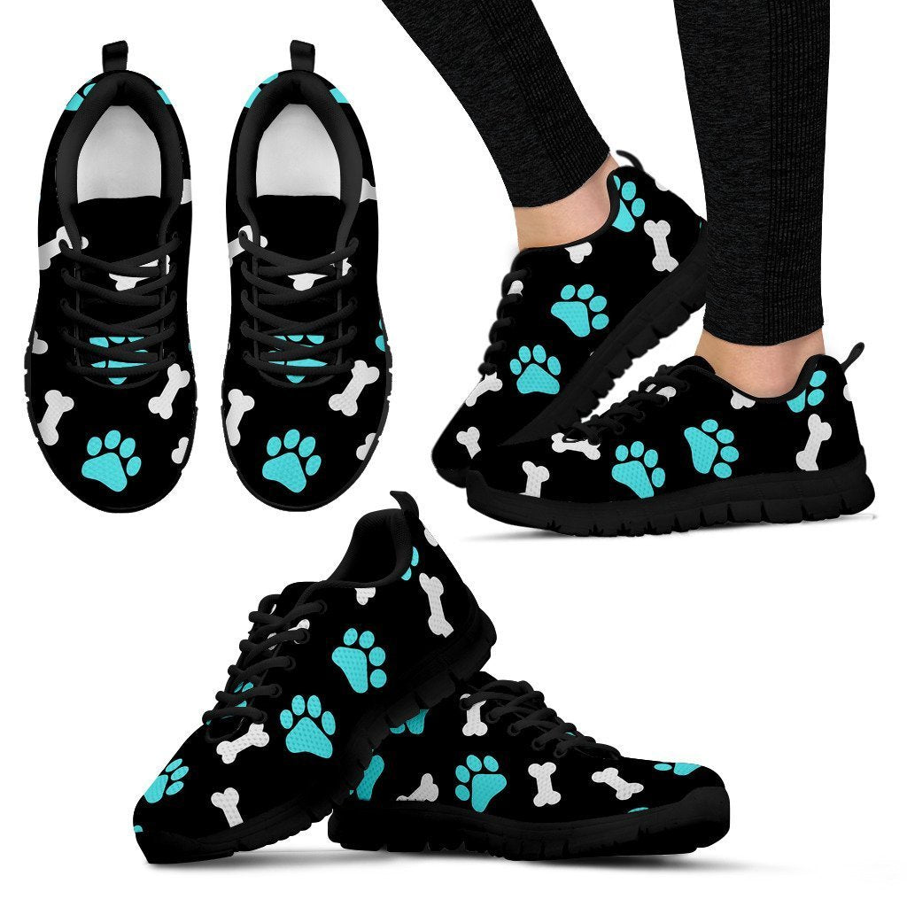 Paws and bones - Black Women's Sneakers-Sneakers-I love Veterinary