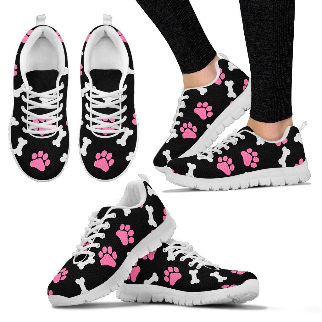 Paws and bones pink - Women's Sneakers-Sneakers-I love Veterinary