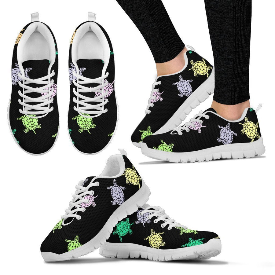 Sea Turtles - Black Women's Sneakers-Sneakers-I love Veterinary
