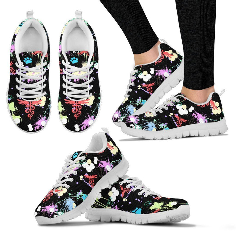 Veterinary Pattern Black Women's Sneakers-Sneakers-I love Veterinary