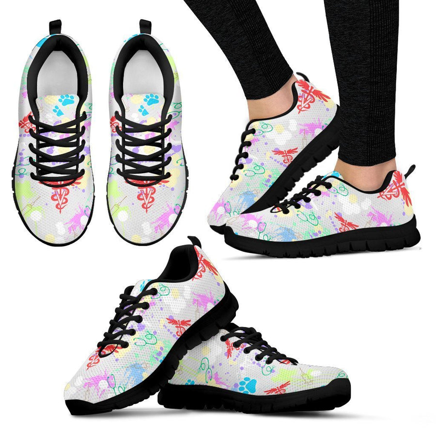 Veterinary Pattern White Women's Sneakers-Sneakers-I love Veterinary