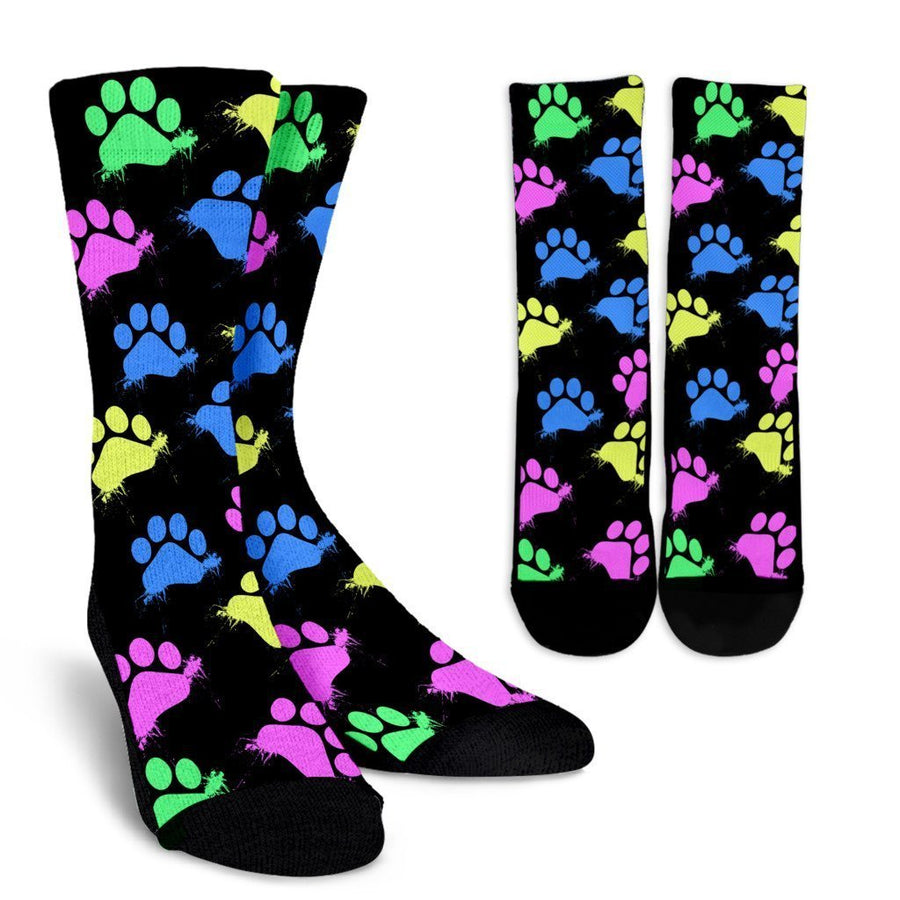 Colorful Pawprints Socks