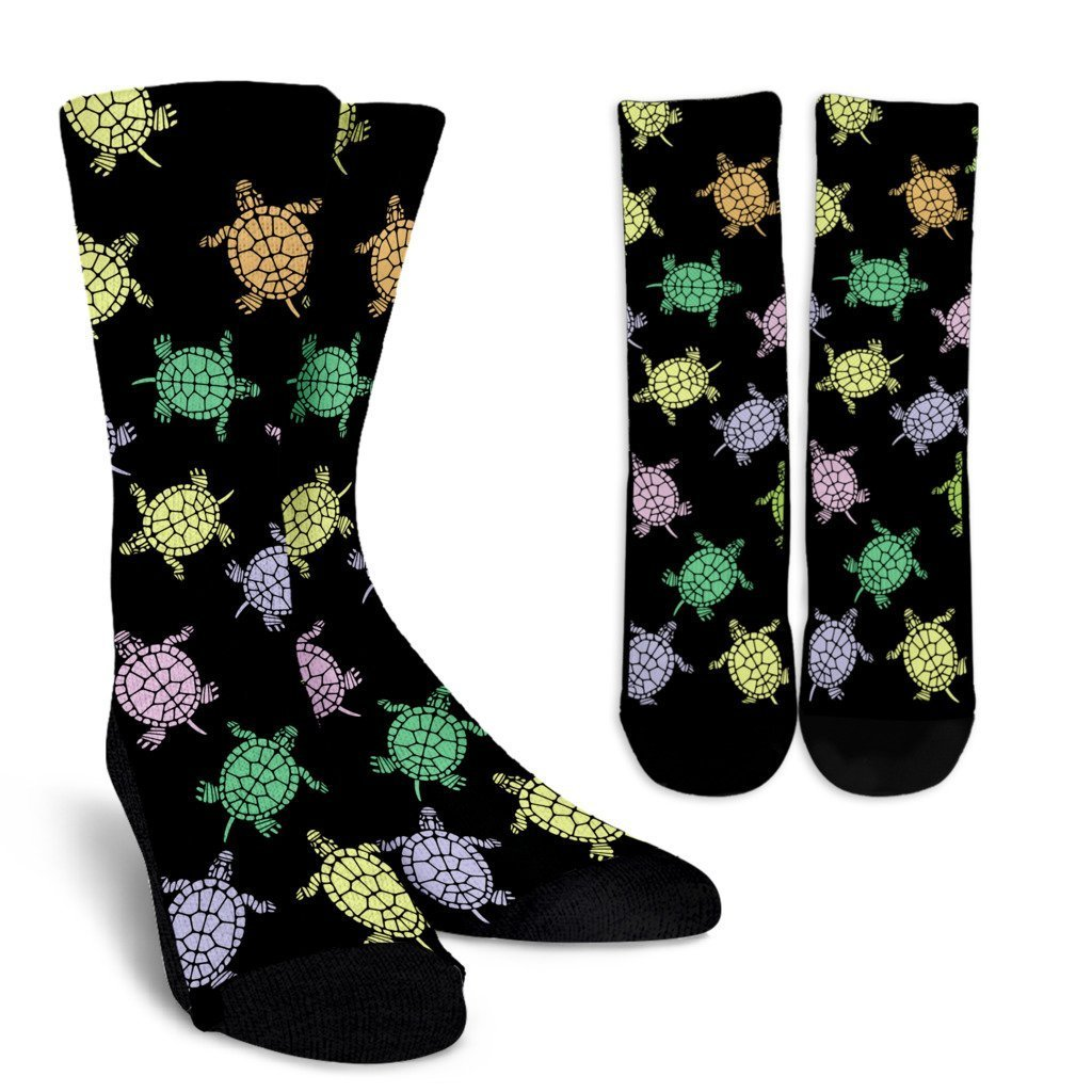 Sea Turtles Black Socks-Socks-I love Veterinary