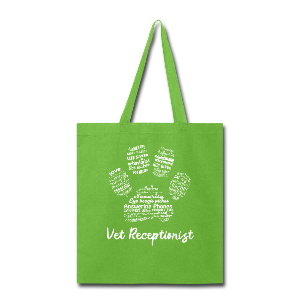 Vet Receptionist Pawprint Cotton Tote Bag-Tote Bag-I love Veterinary