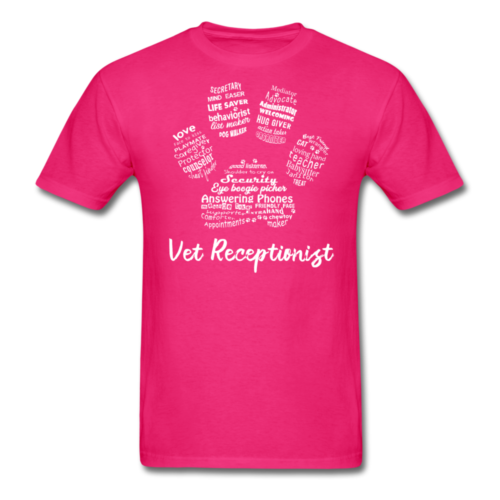 Vet Receptionist Pawprint Unisex T-shirt-Unisex Classic T-Shirt | Fruit of the Loom 3930-I love Veterinary