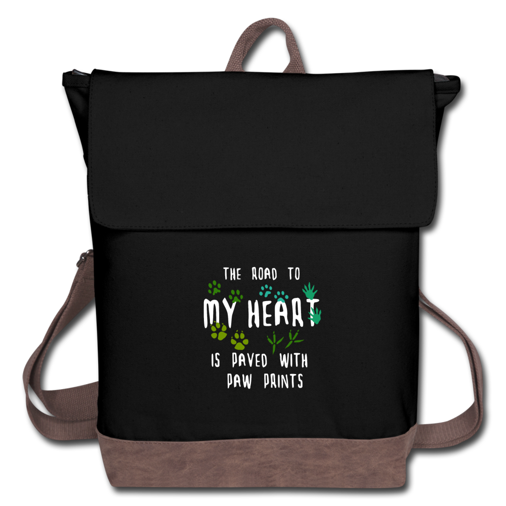 The road to my heart is paved with paw prints Canvas Backpack-Canvas Backpack | Authentic Pigment AP1922-I love Veterinary