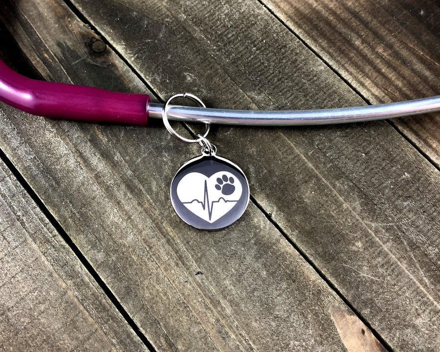 Heart tracing paw print Stethoscope tag