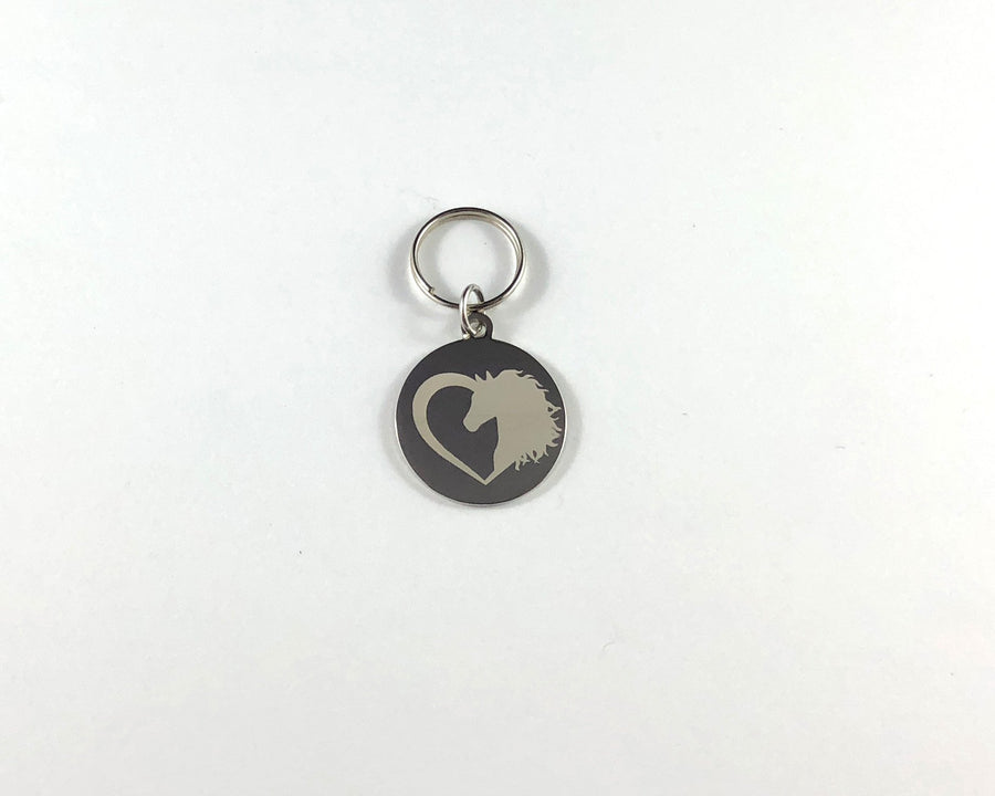 Horse head in heart Stethoscope tag