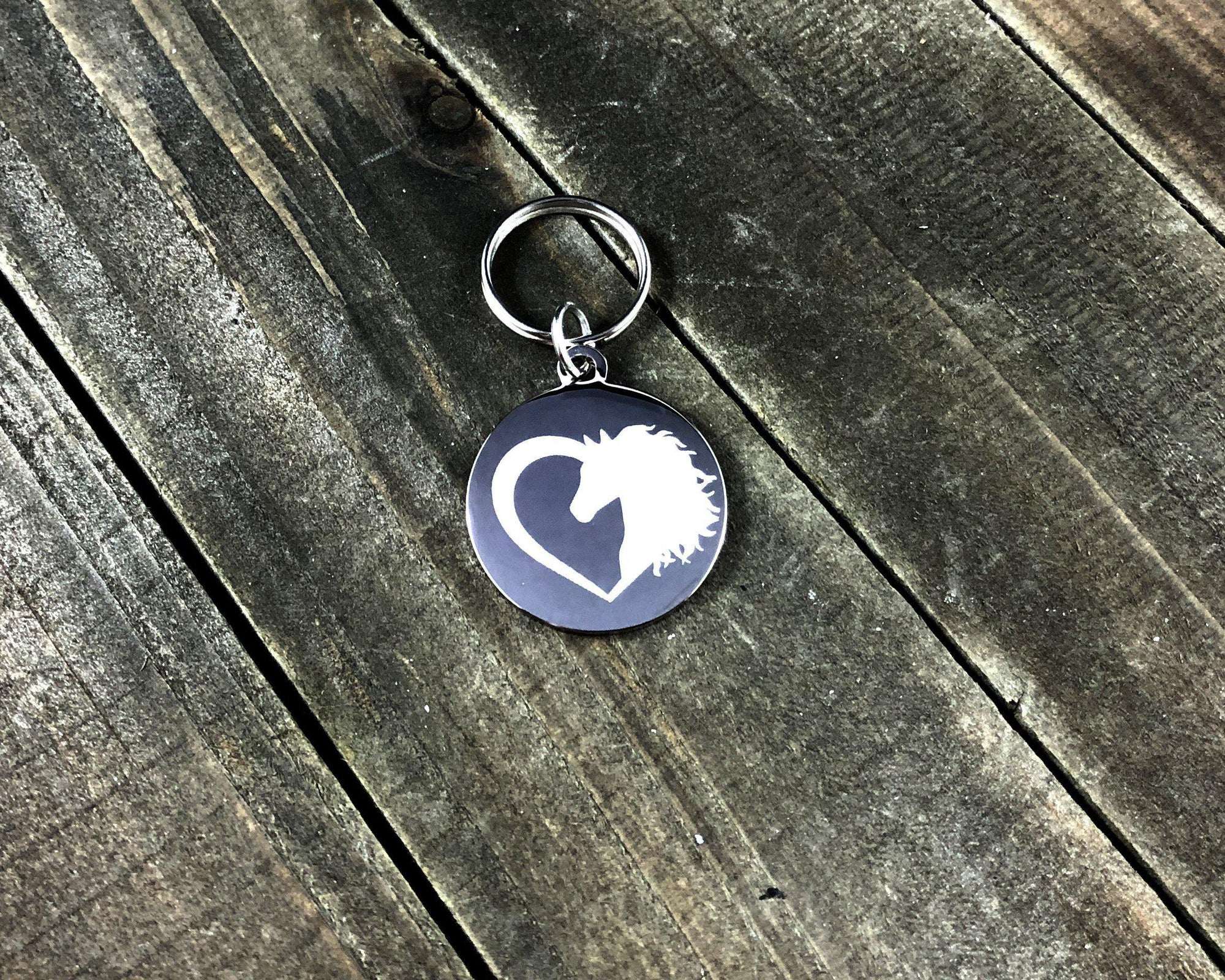 Horse head in heart Stethoscope tag-Stethoscope tag-I love Veterinary