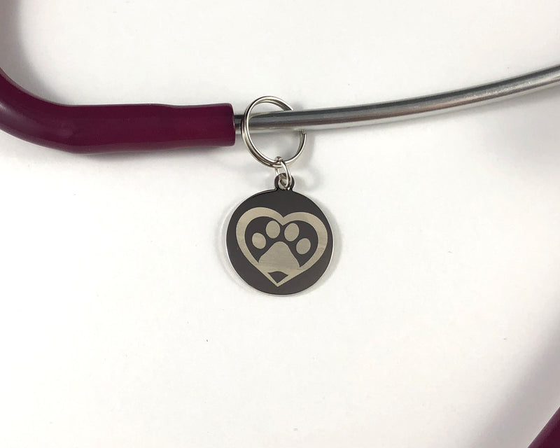 Pawprint in heart Stethoscope tag