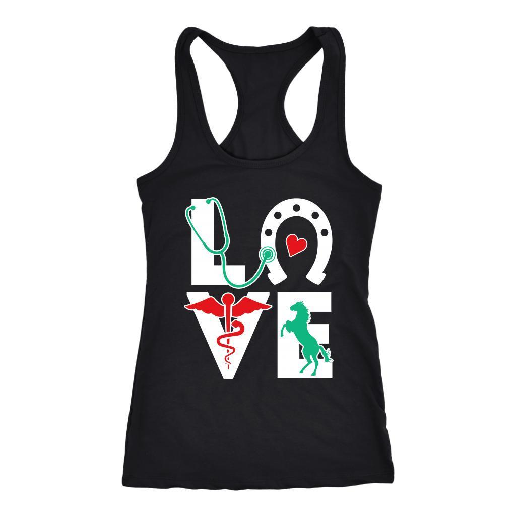 Large Animal Vet - Equine Love Tank Top-T-shirt-I love Veterinary