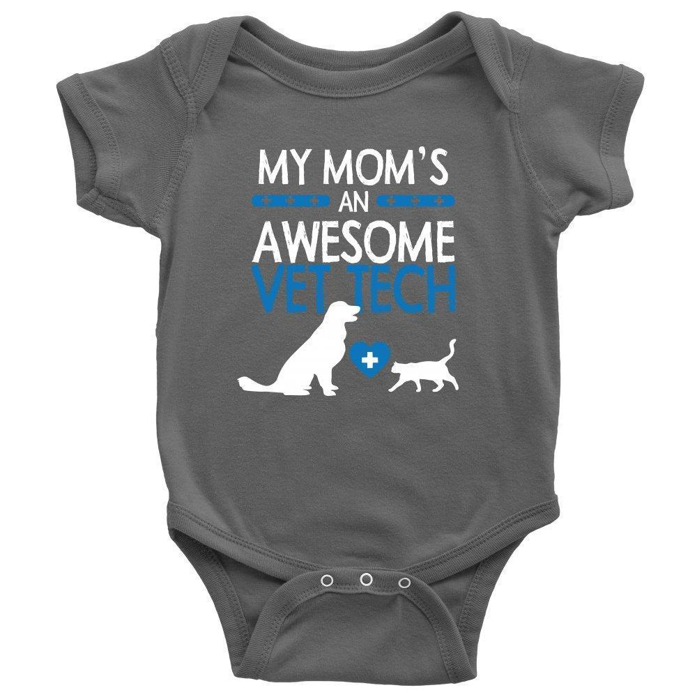 My Mom's an Awesome Vet Tech Onesie-T-shirt-I love Veterinary