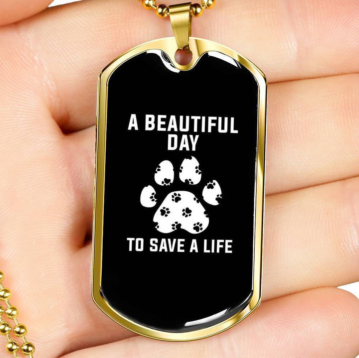 Veterinary Jewelry Gift Luxury Dog Tag Necklace -A beautiful day to save a life-Tag Necklace-I love Veterinary