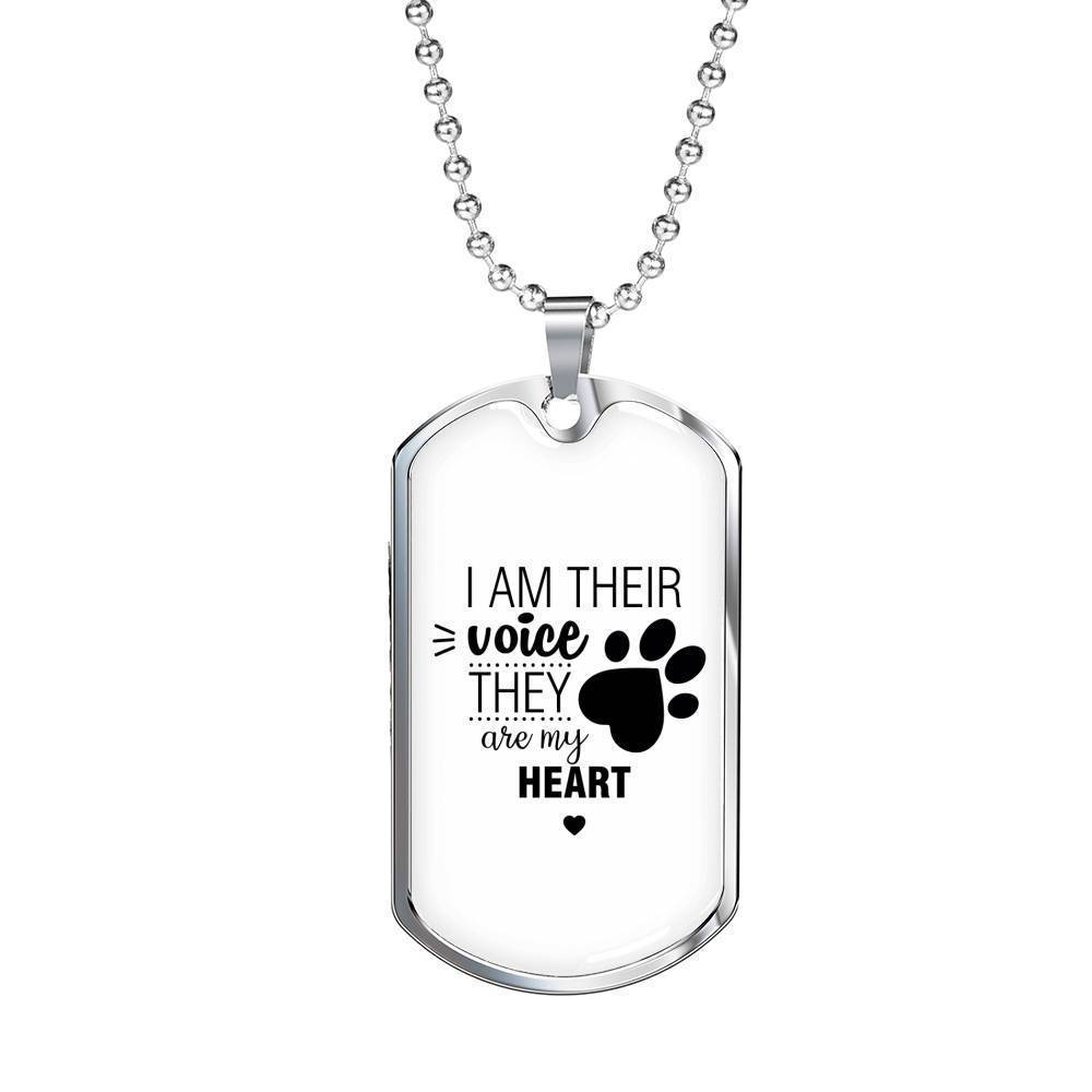 Veterinary Jewelry Gift Luxury Dog Tag Necklace - I am their voice-Tag Necklace-I love Veterinary