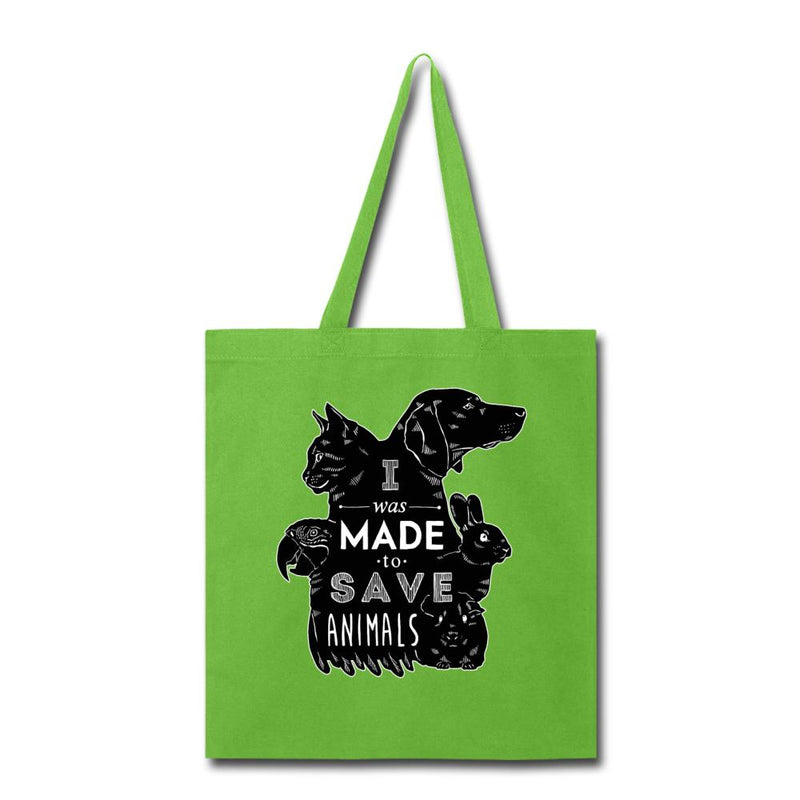 Veterinary - I was made to save animals Black Cotton Tote Bag-Tote Bag-I love Veterinary