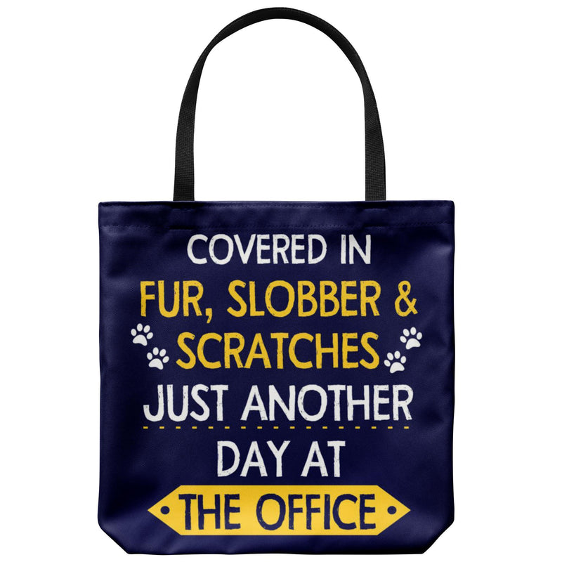 Fur, Slobber, Scratches Polyester Tote Bag-Tote Bags-I love Veterinary