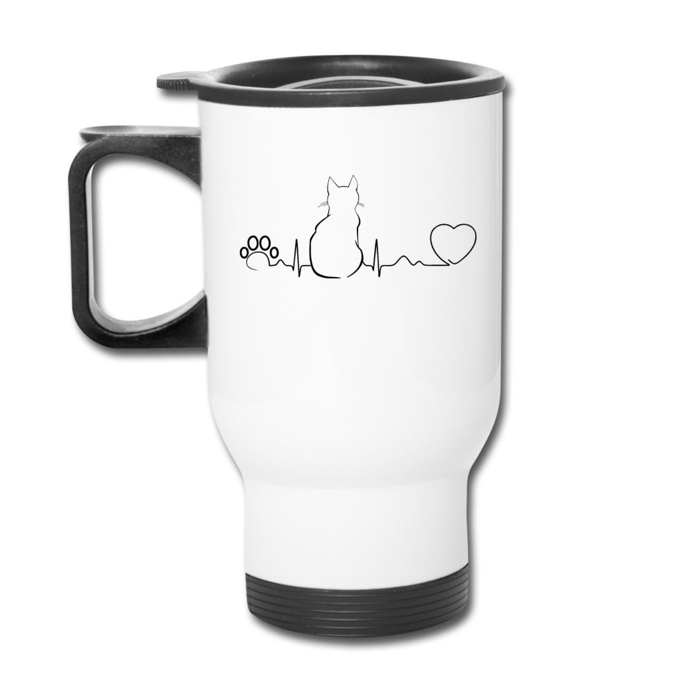Cat Pulse 14oz Travel Mug-Travel Mug-I love Veterinary