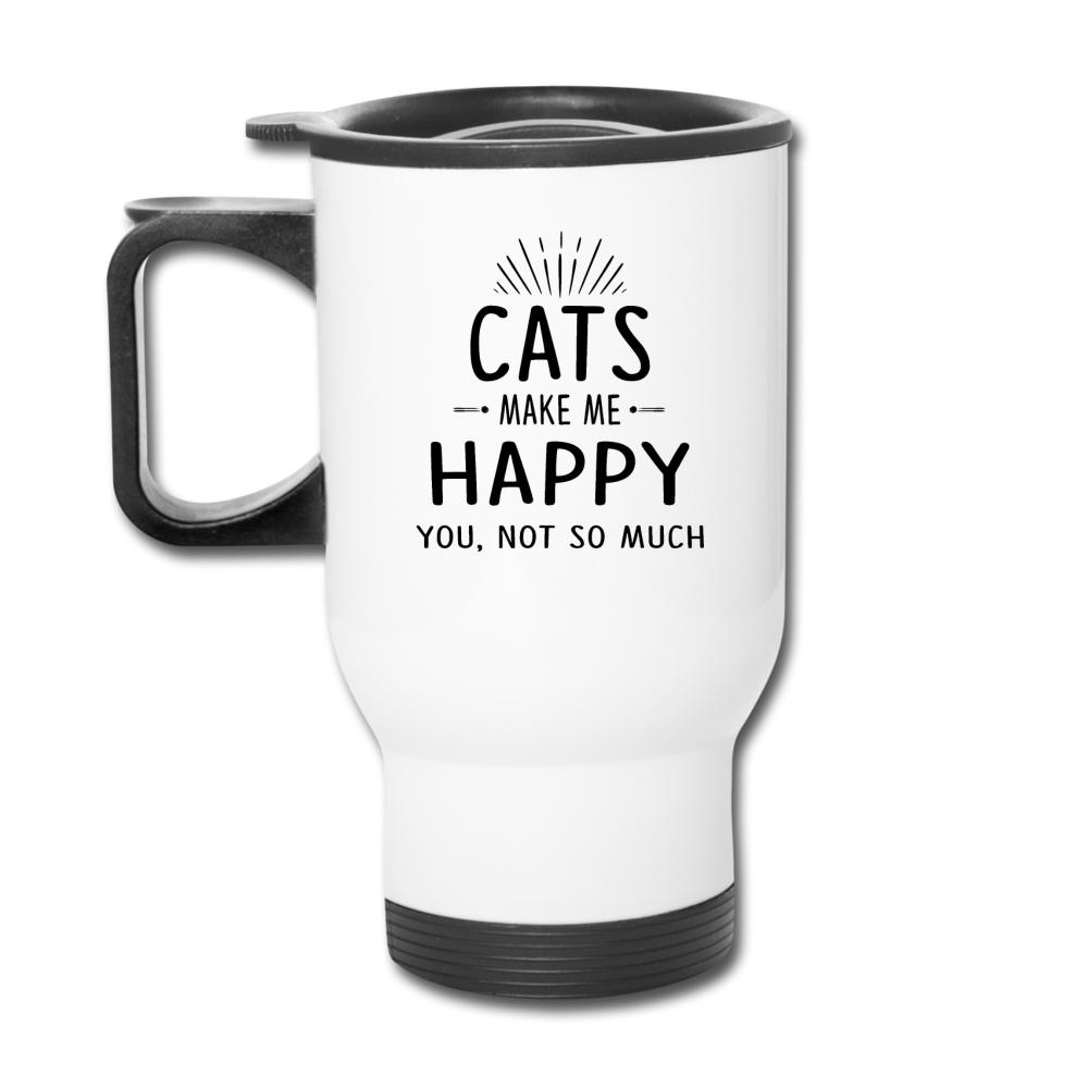 Cats Make Me Happy 14 oz Travel Mug-Travel Mug-I love Veterinary