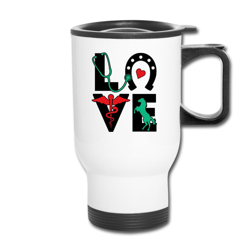 Equine Vet Love 14oz Travel Mug-Travel Mug-I love Veterinary