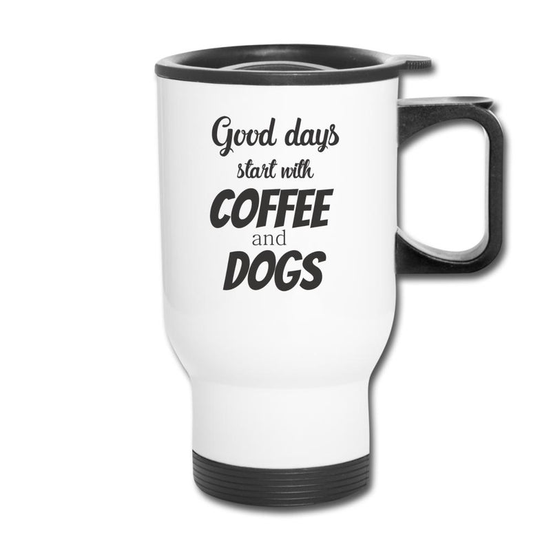 Good days start with coffee and dogs 14oz Travel Mug-Travel Mug-I love Veterinary