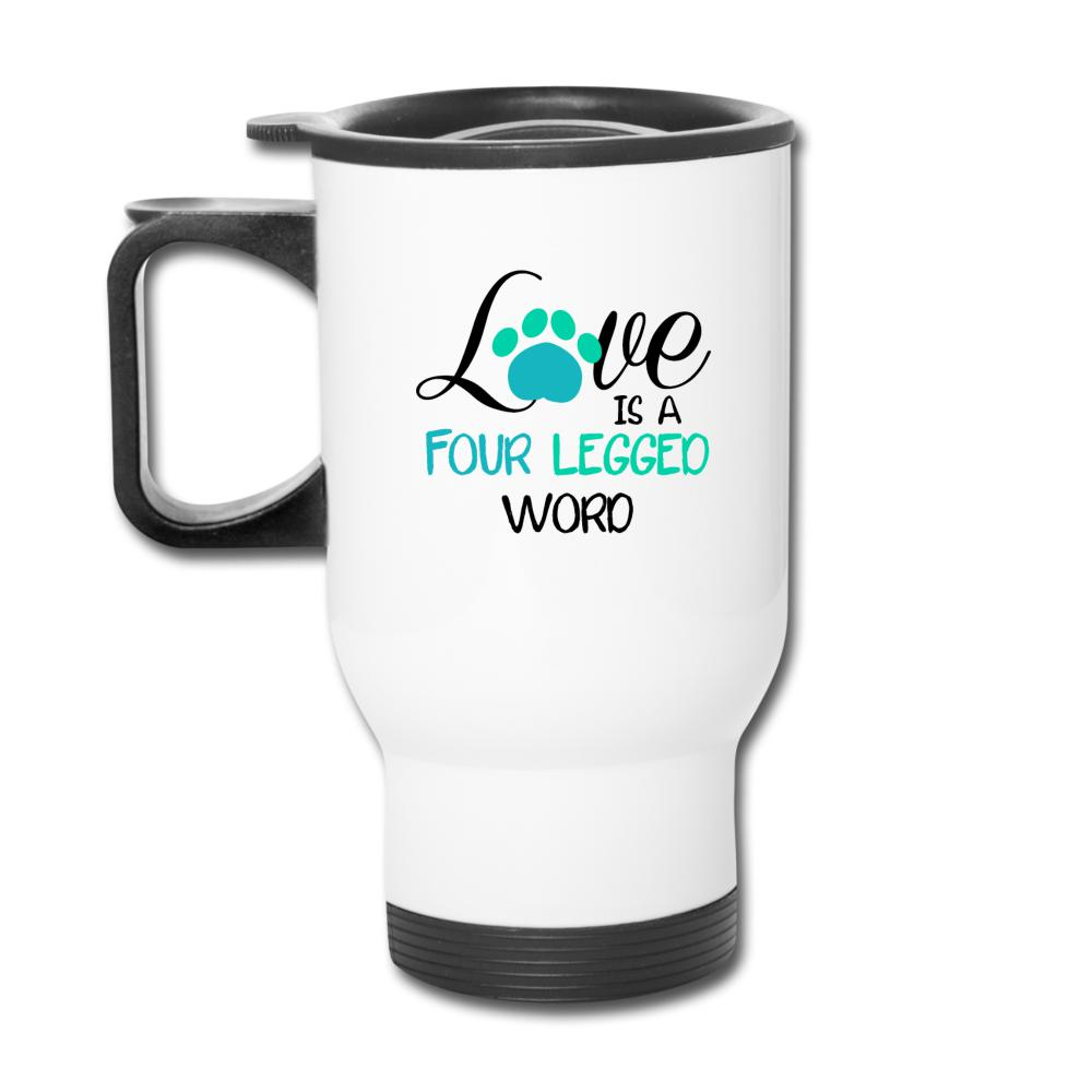 Love is four legged word 14oz Travel Mug-Travel Mug-I love Veterinary