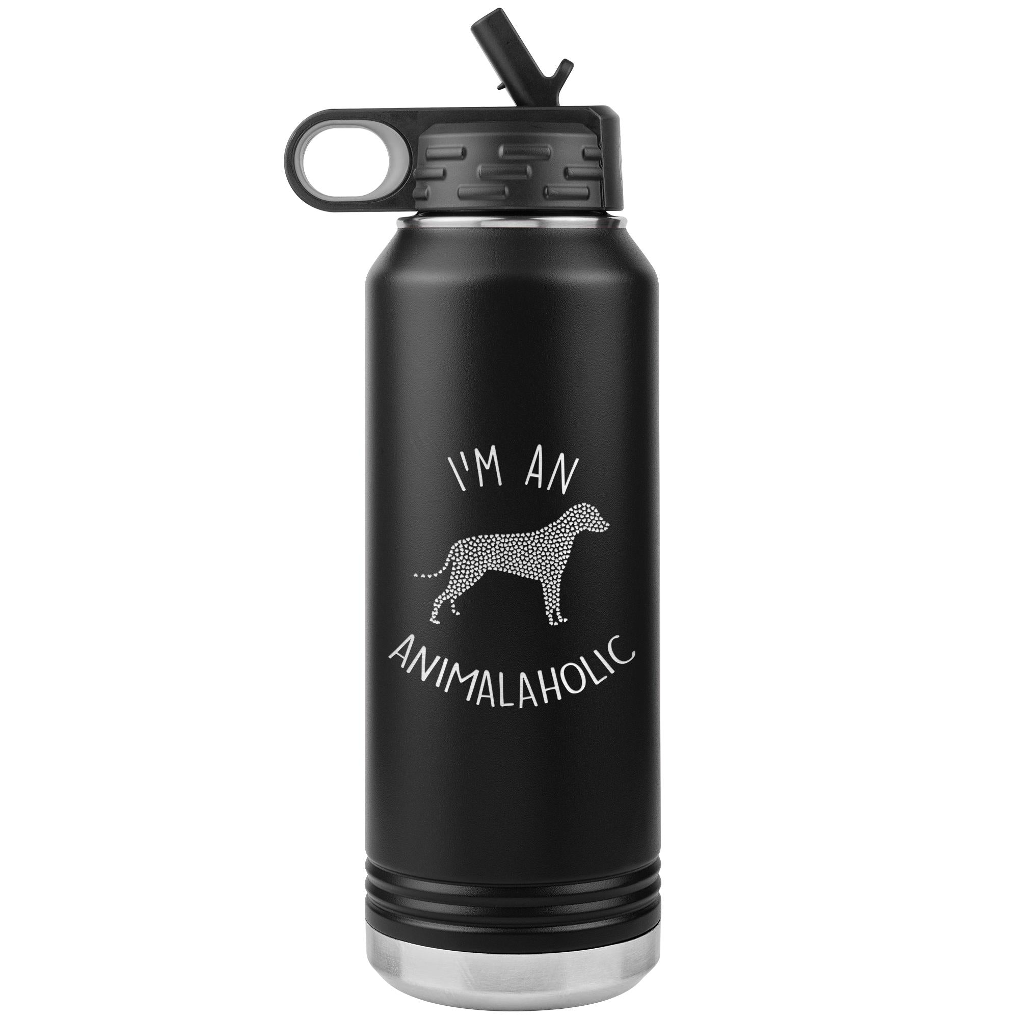 I'm an animalaholic Water Bottle Tumbler 32 oz-Tumblers-I love Veterinary
