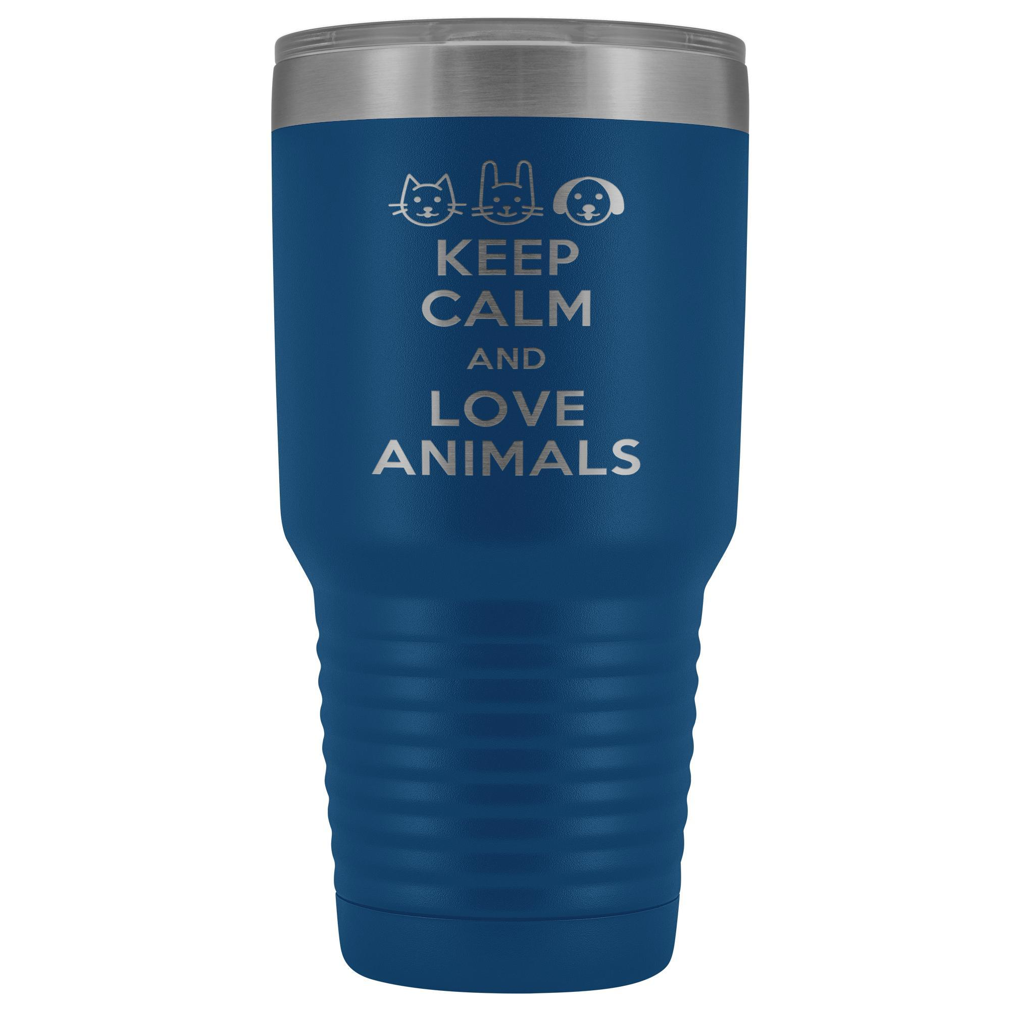 Keep calm and love animals 30oz Vacuum Tumbler-Tumblers-I love Veterinary