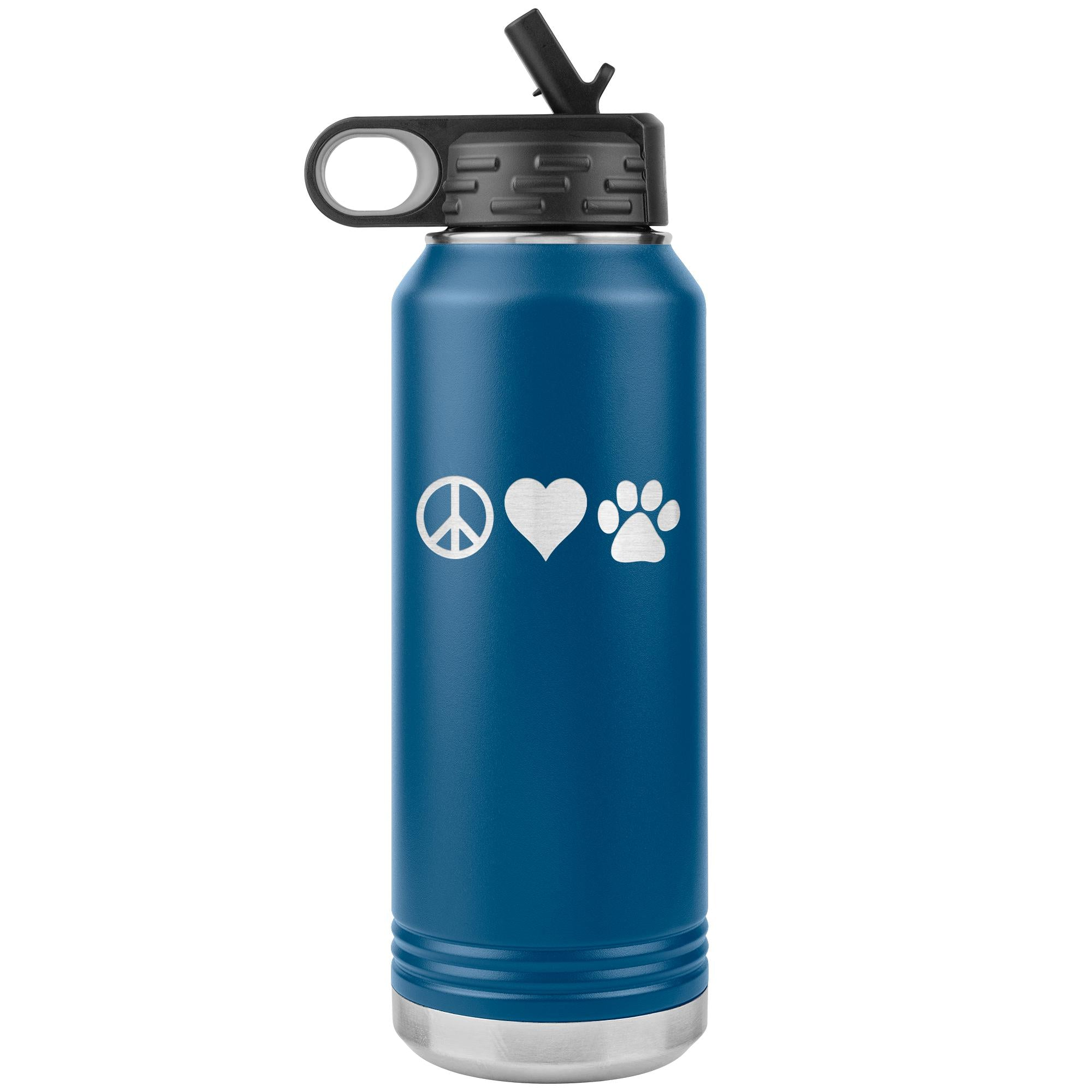 Peace, love, animals Water Bottle Tumbler 32 oz-Tumblers-I love Veterinary
