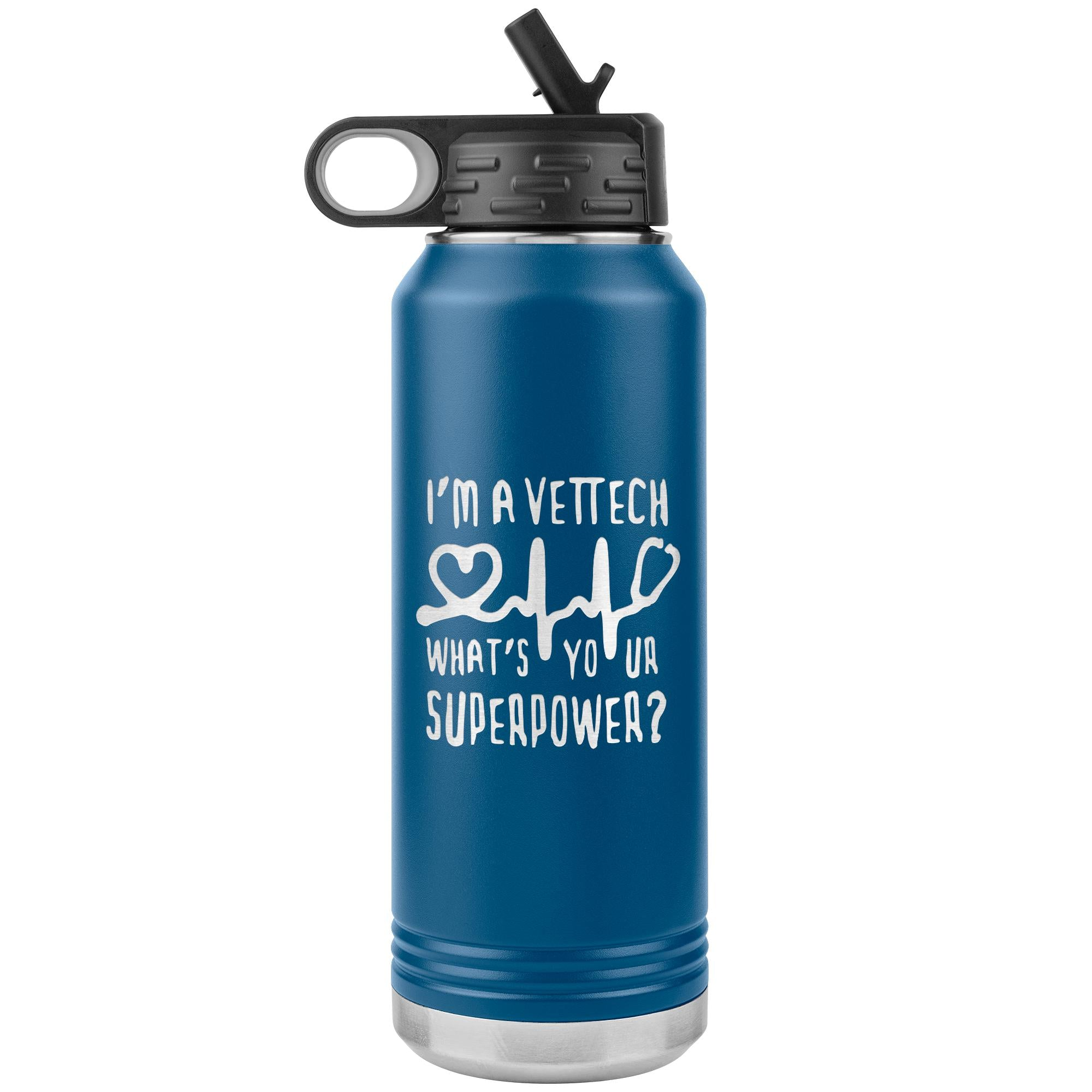 Vet Tech, What's your superpower? Water Bottle Tumbler 32 oz-Tumblers-I love Veterinary