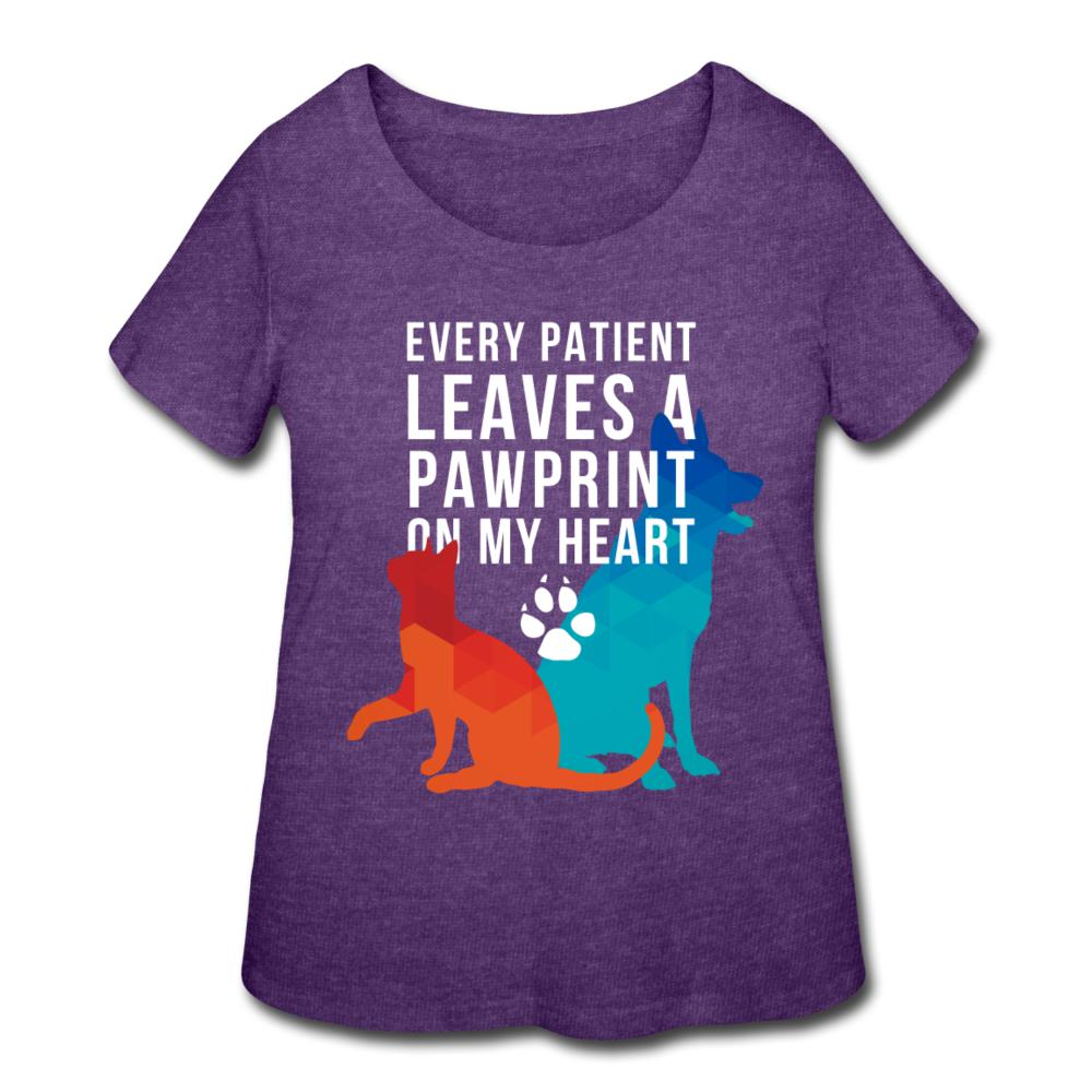 Every patients leaves a pawprint on my heart Women's Curvy T-shirt-Women's Curvy T-Shirt | LAT 3804-I love Veterinary
