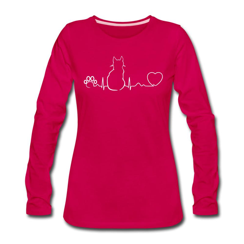 Cat Pulse Women's Premium Long Sleeve T-Shirt-Women's Premium Long Sleeve T-Shirt-I love Veterinary