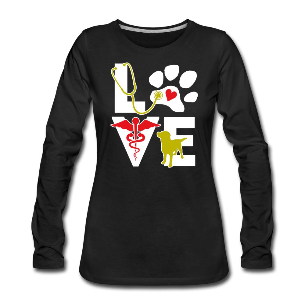 Love dog Women's Premium Long Sleeve T-Shirt-Women's Premium Long Sleeve T-Shirt-I love Veterinary