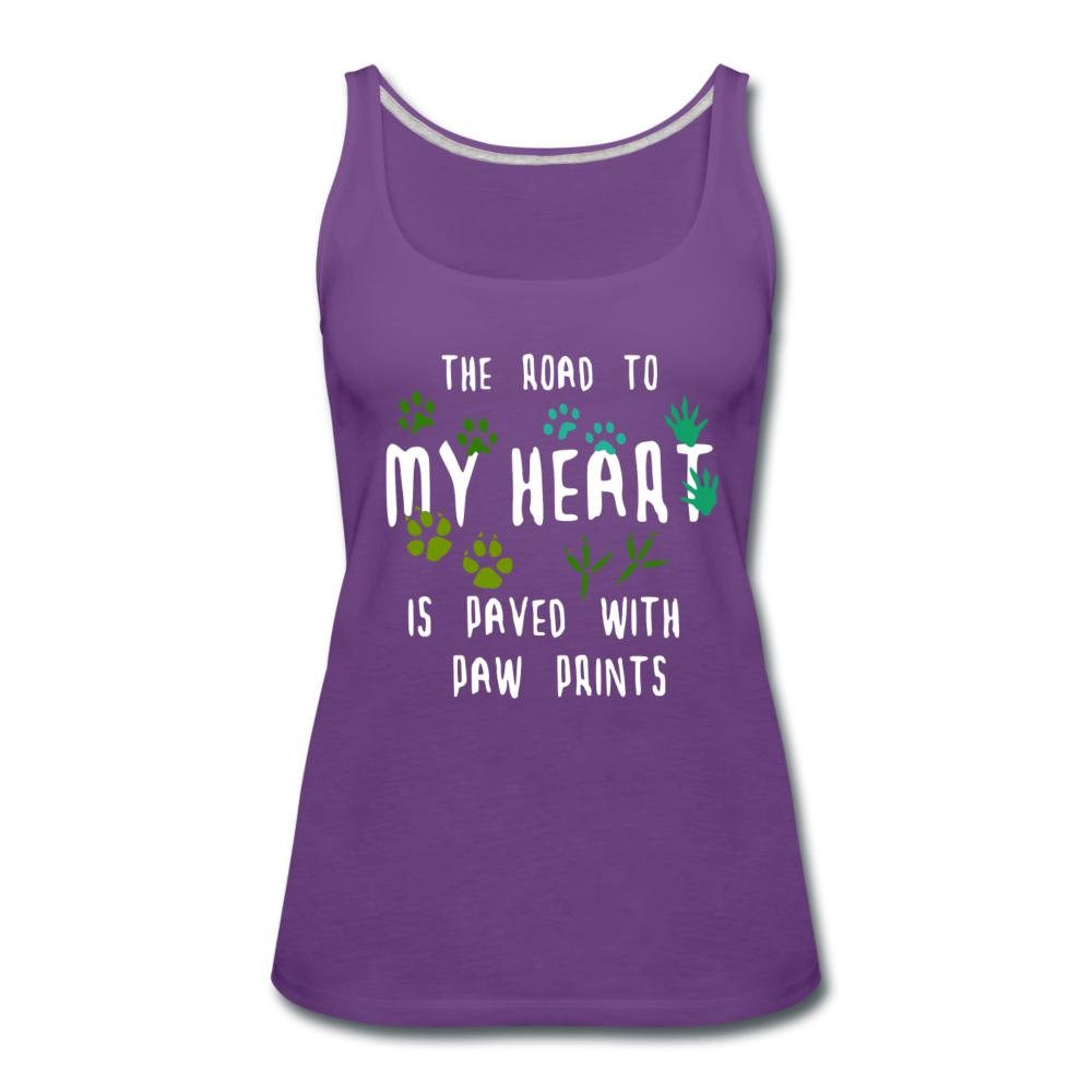 The road to my heart is paved with paw prints Women's Tank Top-Women's Premium Tank Top | Spreadshirt 917-I love Veterinary