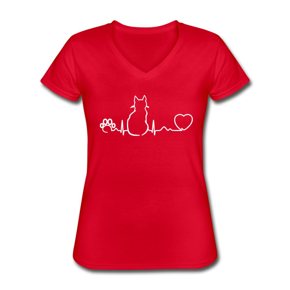 Cat Pulse Women's V-Neck T-Shirt-Women's V-Neck T-Shirt-I love Veterinary