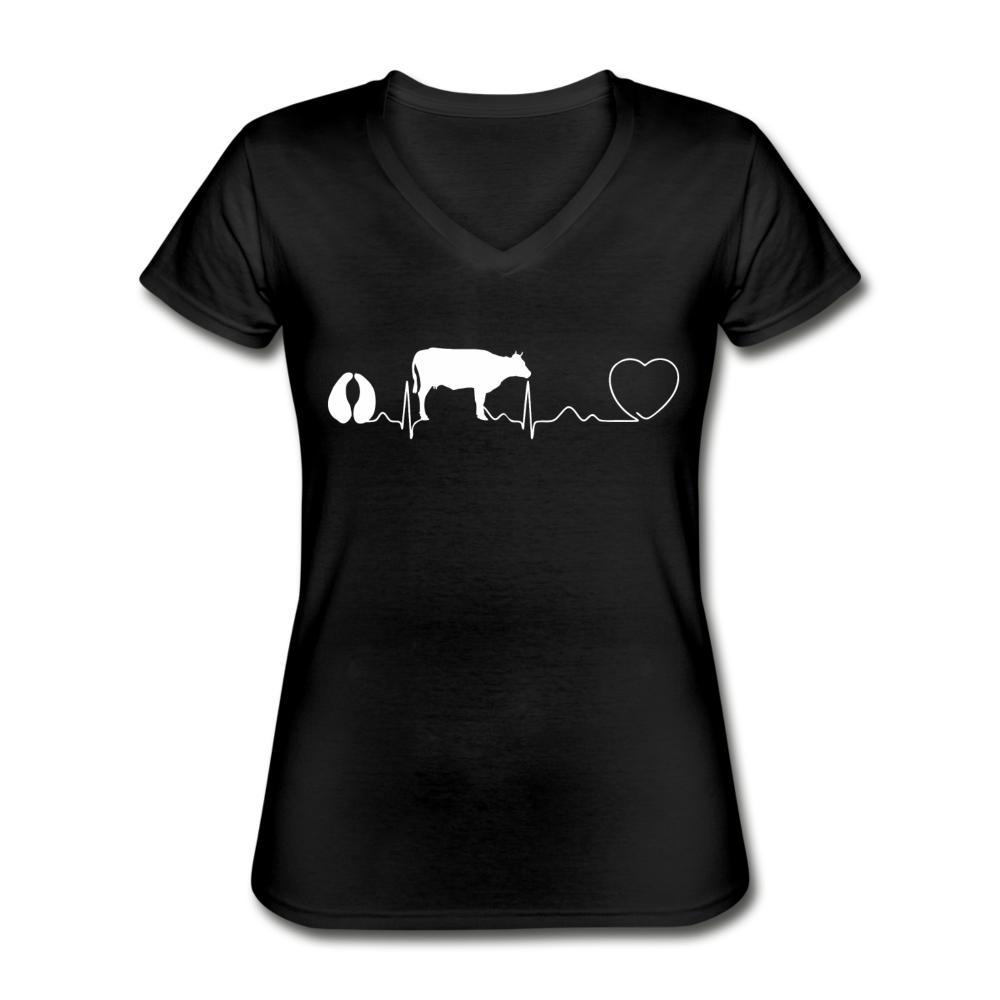 Cow pulse Women's V-Neck T-Shirt-Women's V-Neck T-Shirt-I love Veterinary