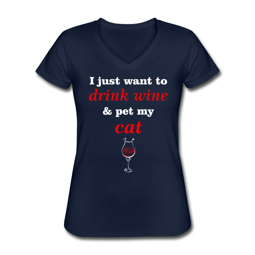 Drink wine and pet my cat Women's V-Neck T-Shirt-Women's V-Neck T-Shirt-I love Veterinary