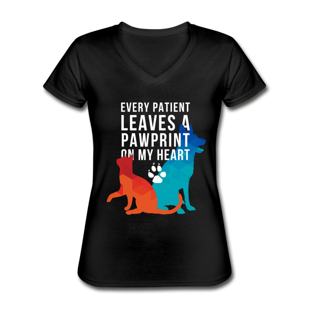 Every patients leaves a pawprint on my heart Women's V-Neck T-Shirt-Women's V-Neck T-Shirt-I love Veterinary