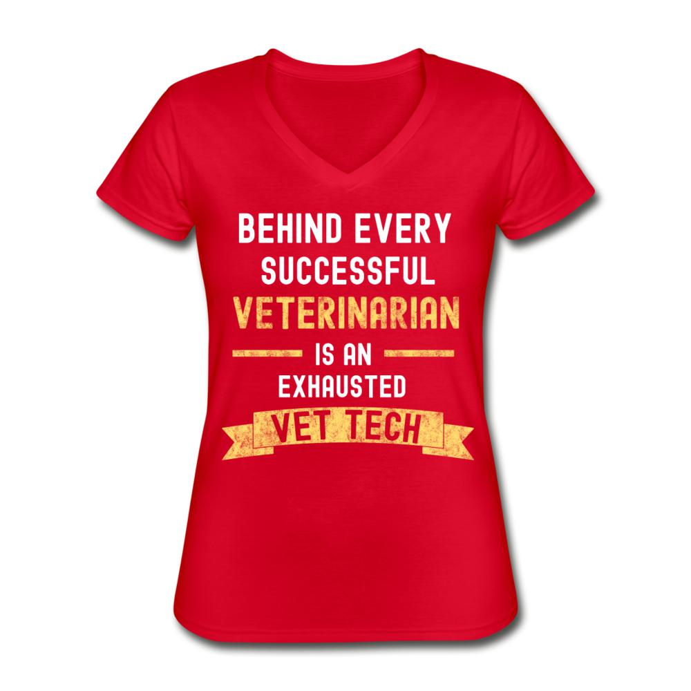 Exhausted Vet Tech Women's V-Neck T-Shirt-Women's V-Neck T-Shirt-I love Veterinary