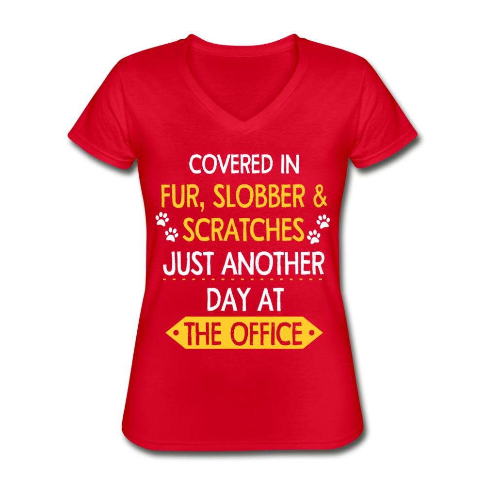 Fur, Slobber, Scratches Women's V-Neck T-Shirt-Women's V-Neck T-Shirt-I love Veterinary