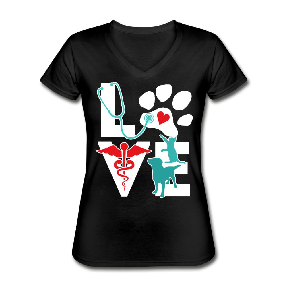Love cat and dog Women's V-Neck T-Shirt-Women's V-Neck T-Shirt-I love Veterinary