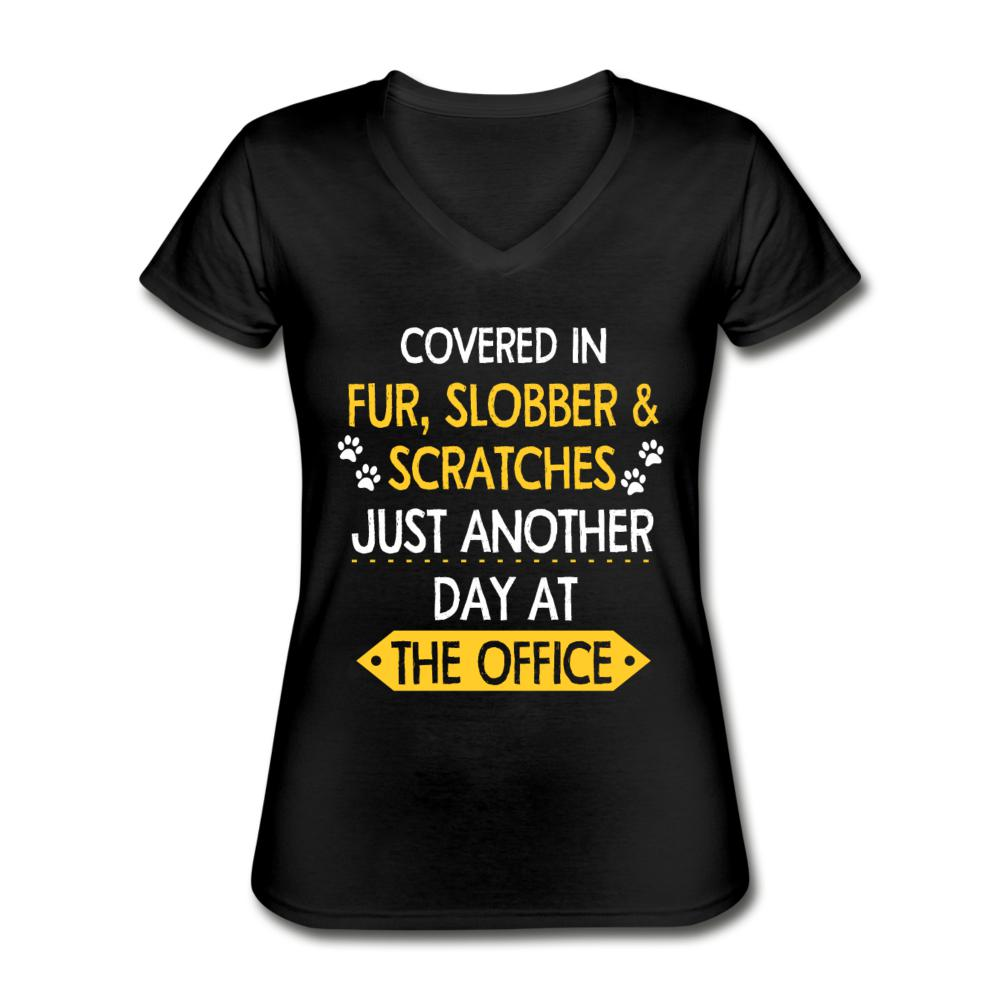 NOMV Fur, Slobber and Scratches Women's V-Neck T-Shirt-Women's V-Neck T-Shirt-I love Veterinary
