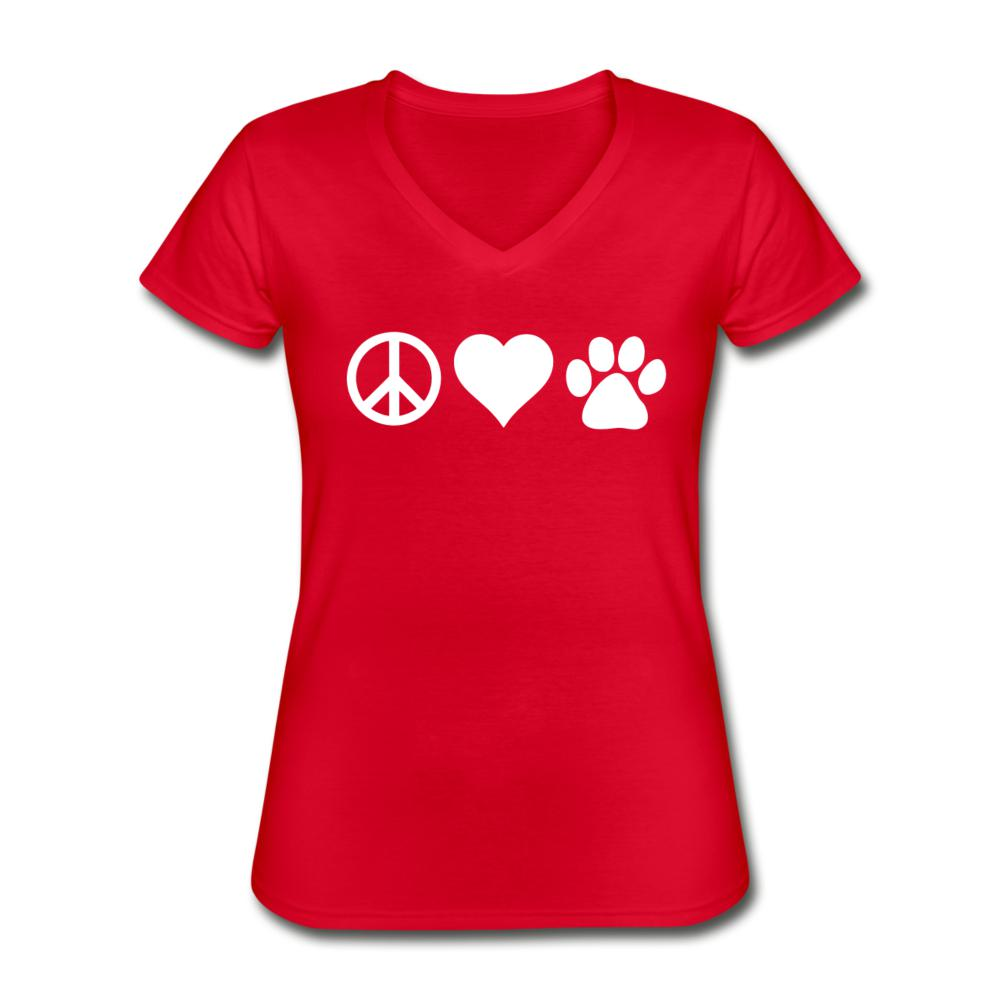 Peace, love, paws Women's V-Neck T-Shirt-Women's V-Neck T-Shirt-I love Veterinary