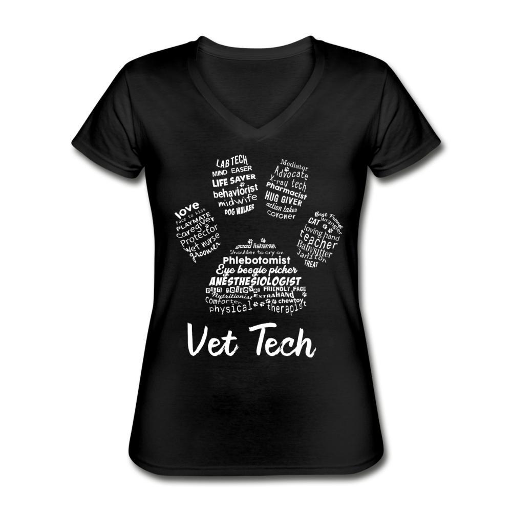 Vet Tech Paw Print Women's V-Neck T-Shirt-Women's V-Neck T-Shirt-I love Veterinary