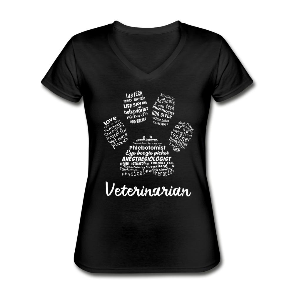 Veterinarian Paw Print Women's V-Neck T-Shirt-Women's V-Neck T-Shirt-I love Veterinary