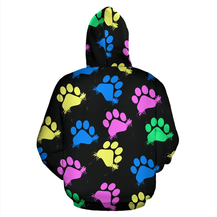 Colorful paws Black Zip Hoodie