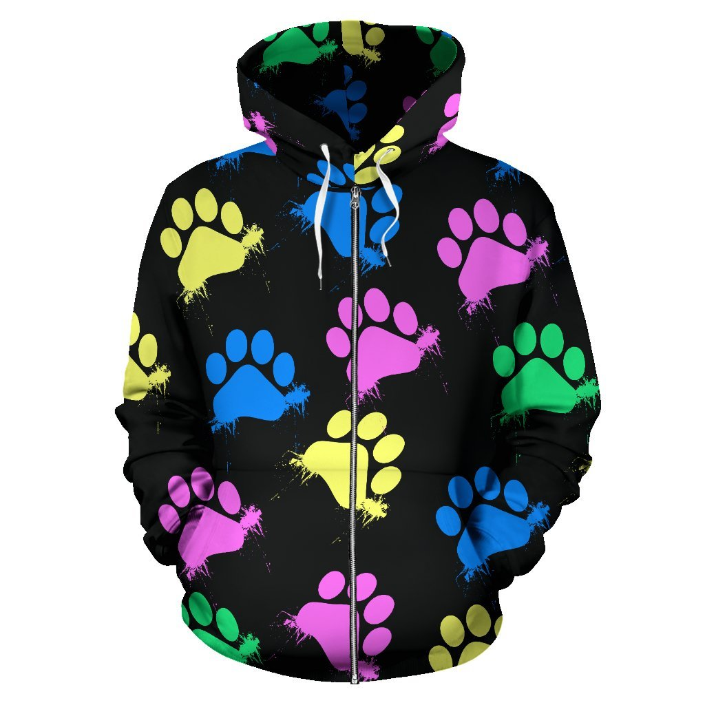 Colorful paws Black Zip Hoodie-Zip Hoodie-I love Veterinary