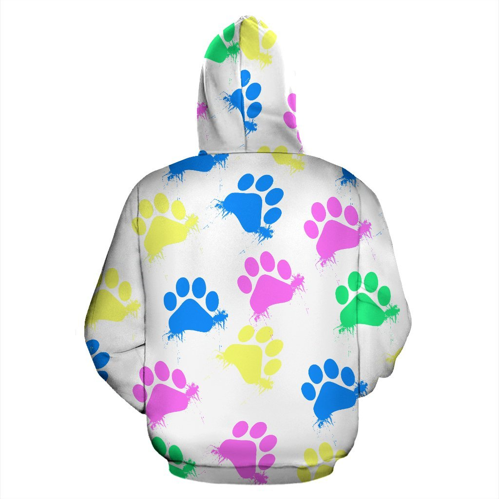 Colorful Paws White Zip Hoodie-Zip Hoodie-I love Veterinary