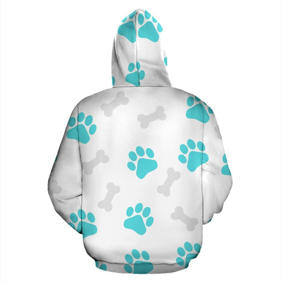 Paws and Bones White Zip Hoodie-Zip Hoodie-I love Veterinary