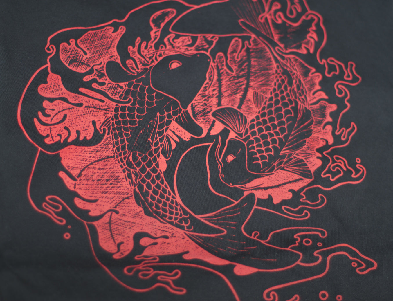 Black Japanese Fighting Koi Fish, Waves Graphic T-Shirt Dress - Yay for Fidget Art!