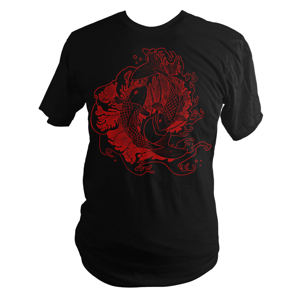 Black Japanese Fighting Koi Fish Screen Printed T-Shirt - Yay for Fidget Art!